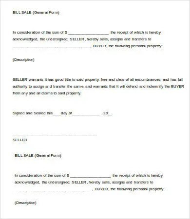 Printable Bill Of Sale Template - 8+ Free PDF Documents Download