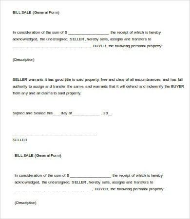 Printable Bill Of Sale Template - 8+ Free PDF Documents Download - Printable Bill Of Sale