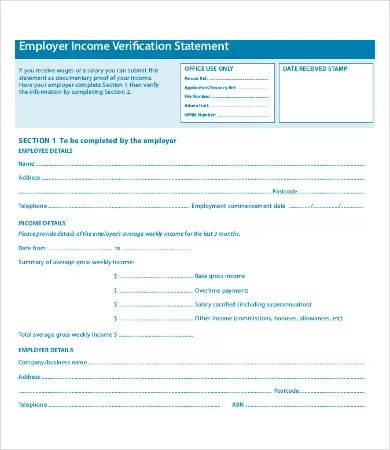 Employment Verification Form - 9+ Free Word, PDF Documents - income verification form