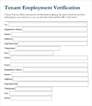 Employment Verification Form - 12+ Free Word, PDF Documents Download