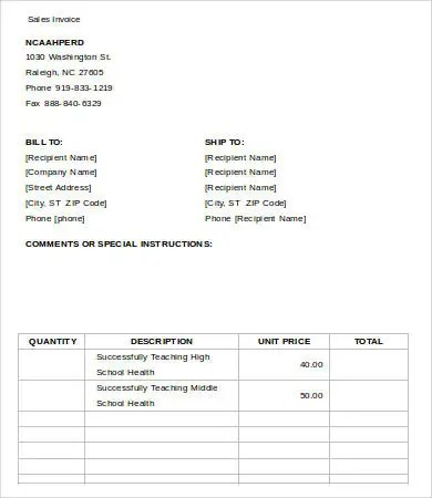 Free Printable Invoice Template - 34+ Free Word, Excel, PDF - printable sales invoice