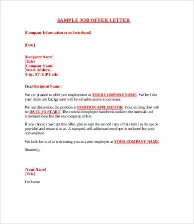 12+ Sample Offer Letters - Free Sample, Example, Format Free - Offer Letter