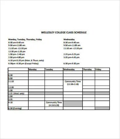 college schedule template template - class schedule template sample