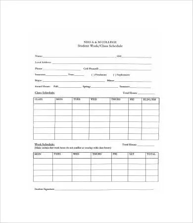 College Class Schedule Template - 6+ Free PDF Documents Download