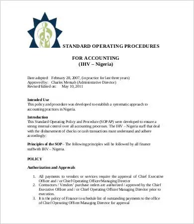 8+ Standard Operating Procedure Templates - PDF, DOC Free - How To Write A Standard Operating Procedure