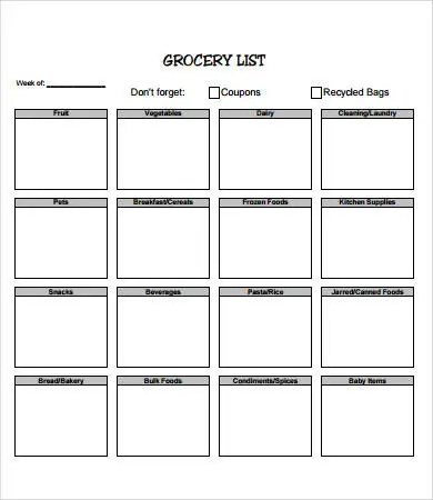 Printable Grocery List Template - 7+ Free PDF Documents Download