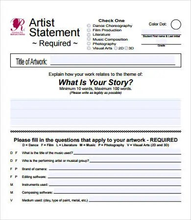 Artist Statement Examples - 8+ Free PDF Documents Download Free - income statement inclusions