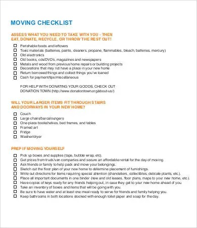 Moving Checklist Template - 7+ Free PDF Documents Download Free - moving checklist template