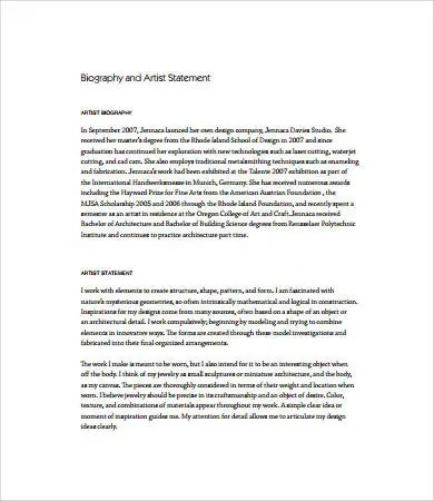 Artist Statement Examples - 8+ Free PDF Documents Download Free - sample artist statement