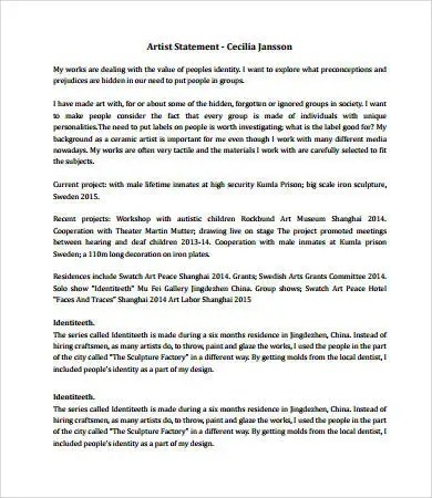 Artist Statement Examples - 8+ Free PDF Documents Download Free