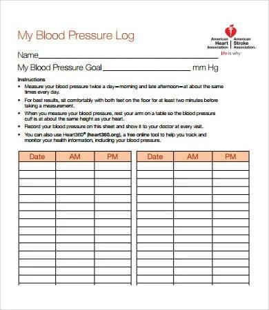 Sample Blood Pressure Log - 7+ Free PDF Download Documents Free - blood pressure and blood sugar log sheet