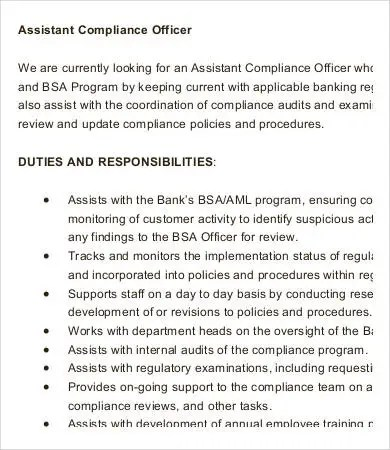 assistant compliance officer sample resume cvresumecloud bsa officer sample resume - Probation And Parole Officer Sample Resume