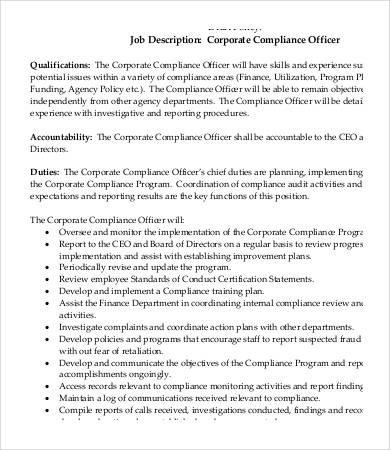 Compliance Officer Job Description - 9+ Free Word, Excel, PDF - ceo job description
