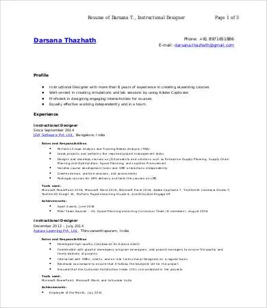 9+ Designer Resumes - Free Sample, Example, Format Free  Premium - instructional designer resume sample