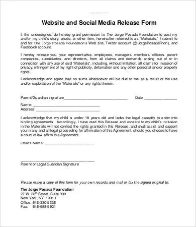 Media Release Form Template - 8+ Free Sample, Example, Format Free - legal release form template
