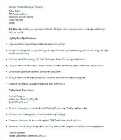 9+ Designer Resumes - Free Sample, Example, Format Free  Premium