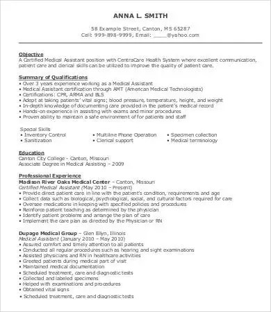 Sample Medical Assistant Resume - 9+ Free Sample, Example, Format