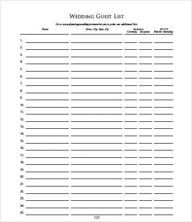 wedding guest list sample - Romeolandinez - sample wedding guest list