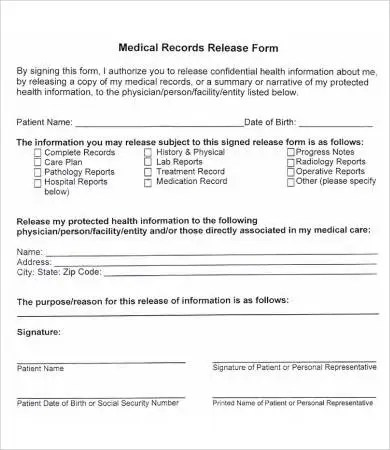 blank medical records release form sample medical release form 11 - blank medical forms