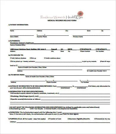 Medical Records Release Form - 7+ Free PDF Documents Download Free - blank medical forms