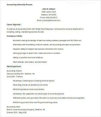 10+ Sample Accounting Resume Templates - PDF, DOC Free  Premium - sample of accounting resume