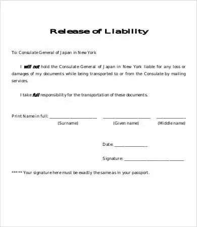 Release Of Liability Form Template - 8+ Free Sample, Example, Format - general liability release form template
