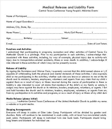 Sample Medical Waiver Form Authorization And Medical Waiver