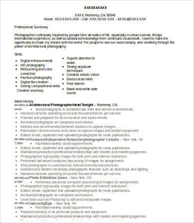 10+ Photographer Resume Templates - PDF, DOC Free  Premium Templates - sample photographer resume template