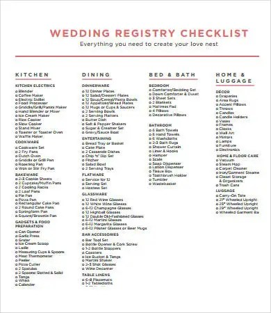 Printable Wedding Checklist - 9+ Free PDF Documents Download Free - printable checklist template