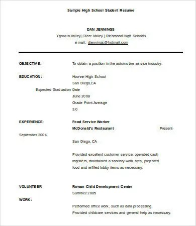 10+ High School Graduate Resume Templates - PDF, DOC Free - resume high school graduate