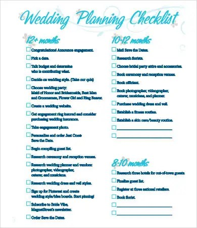 Printable Wedding Checklist - 9+ Free PDF Documents Download Free