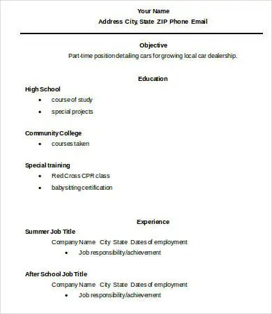 10+ High School Graduate Resume Templates - PDF, DOC Free - resume for high school graduate with little experience