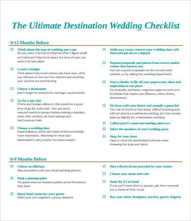 Printable Wedding Checklist Printable Comprehensive Wedding - wedding list