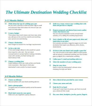 Printable Wedding Checklist - 9+ Free PDF Documents Download Free - printable wedding checklist