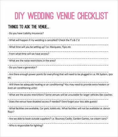 Printable Wedding Checklist - 9+ Free PDF Documents Download - wedding checklist template