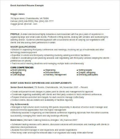 6+ Event Planner Resumes - Free Sample, Example, Format Free - event planner resume