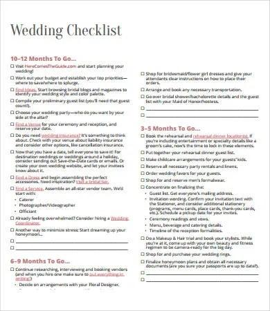 Printable Wedding Checklist   9+ Free PDF Documents Download   Printable Wedding  Checklist