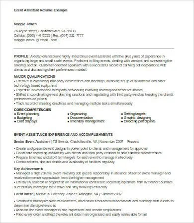 6+ Event Planner Resumes - Free Sample, Example, Format Free - event planner resume template