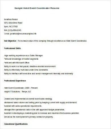 event coordinator resume sample planner assistant free templates