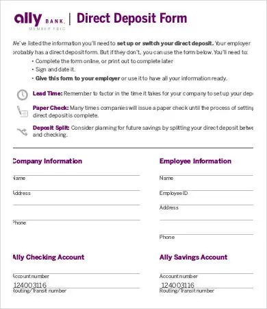 Direct deposit forms colbro direct deposit form template 9 free pdf documents download free maxwellsz