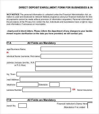 Direct Deposit Forms Direct Deposit Form Template Word Unique