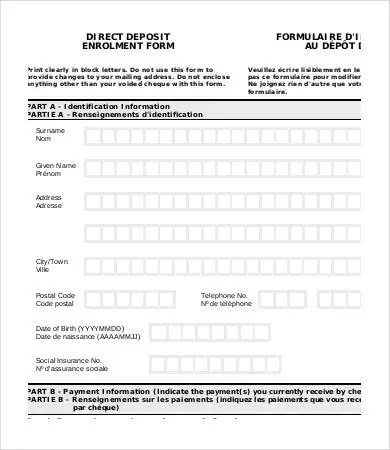 ... Direct Deposit Form Template   9+ Free PDF Documents Download   Enrolment  Form Template ...  Enrolment Form Template