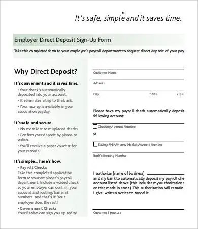 Direct Deposit Form Template - 9+ Free PDF Documents Download Free