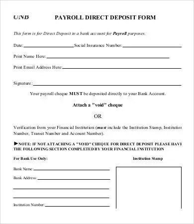 Direct Deposit Form Template - 9+ Free PDF Documents Download Free - direct deposit forms