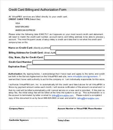 Credit Card Form Template - 9+ Free Sample, Example, Format Free