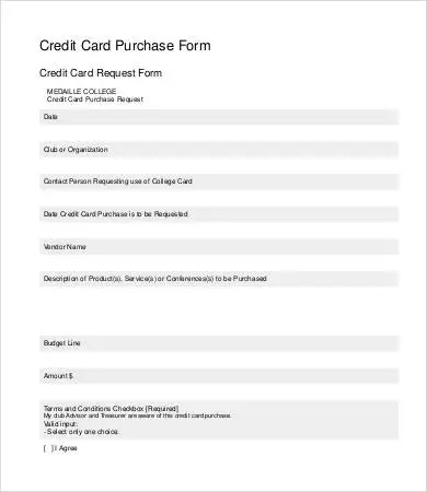 credit card request form template - Onwebioinnovate