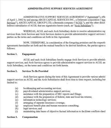 Administrative Services Agreement Template - 9+ Free Sample, Example
