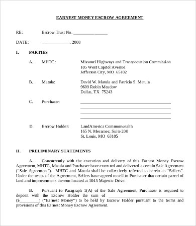Escrow Agreement Template  NodeCvresumePaasproviderCom
