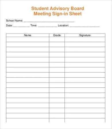 Meeting Sign In Sheet Template - 13+ Free PDF Documents Download