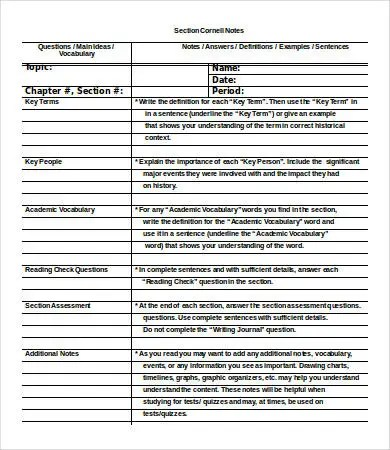 cornell note taking template word - Minimfagency